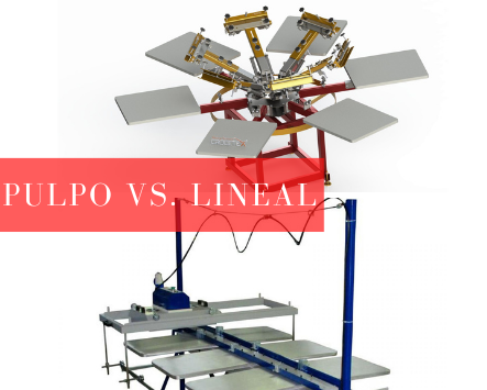 Mesa lineal vs Pulpo manual de serigrafía